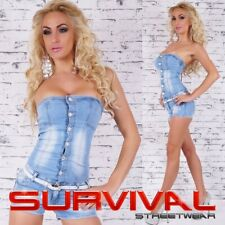 NEW SEXY SZ 8-14 WOMENS OVERALL DENIM JUMPSUIT PANTS TOP BLUE ONE PIECE SHORTS