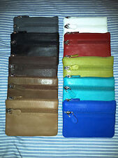 ili Leather Zip Money Coin Cosmetic Key Ring Pouch Bag - 10 Color Choices-#6414