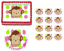MOD Monkey First Birthday Baby Shower Edible Cake Topper Image - All Sizes!