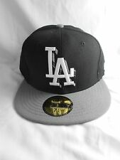 Los Angeles DODGERS MLB 2Tone 3D Shadow New Era Fitted 59FIFTY Black and Gray