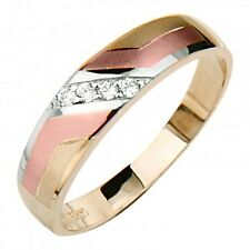 14K Tri-color Gold .10 Ct Simulated Diamond Wedding Band Women's / Men's Ring