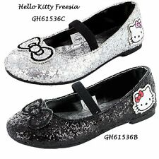 NEW girls hello kitty black glitter formal party ballet dolly shoes sizes 8-1