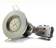 20 x BRUSHED CHROME FIRE RATED RECESSED DOWNLIGHTS + GU10 LED BULBS SPOT LIGHTS