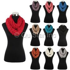 New Warm Chunky Knitted Sequin Cable Yarn Crochet Circle Infinity Cowl Scarf
