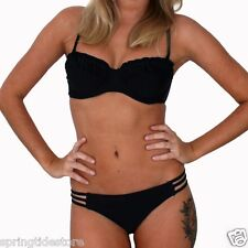 Swimalicious DAISY Padded Bikini Top or Strappy Hipster Bottom - Jet Black