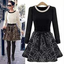 Sexy Women Long Sleeve Floral Dress Pleated Splicing Slim Autumn Winter Dresses