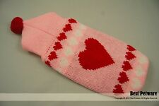 Pet Dog Cat Puppy High Quality Warm Pink Heart Wool Clothes Clothing Hooded