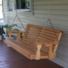 CAF Amish Heavy Duty 700 lb Roll Back 5ft. Treated Porch Swing With Cupholders