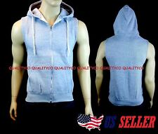 New Men's Gray Vest Zipper Hoodie Tank Top Biker Gym MMA Boxing Workout