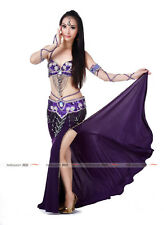 Hot Beaded Handmade Professional Belly Dance Costume Outfit 2Pics Bra&Belt Scarf