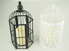 Bird Cage Metal Hanging Candle LED Light Flameless Flick Glowing Wedding Damask