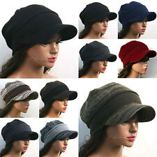 Visor BEANIE Hat Fall Winter Skull Ski Brim Cadet cap for Men Women  /PK