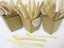 50 PACK WOODEN FORKS SPOONS KNIVES DISPOSABLE WOODEN CUTLERY PACK