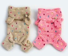 Colorful Dots Hoodie Fleece Jumpsuit Pajamas Small boy girl dog Clothes S~XXL