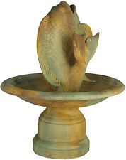 Fish with Bowl Water Fountain by Orlandi Statuary-Faux Concrete-Garden Fountain