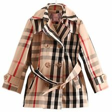 GIRLS Kid's Clothes Plaid double-breasted Belted Trench Coat Wind Jacket FT1134