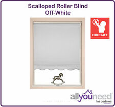 * SALE * Off-White Scalloped Roller Blinds With Free Child Safety P Clip