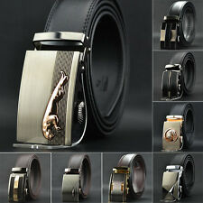 Men's Auto Lock Buckle Genuine Leather Belt Formal Waist Strap Belts Black LCj