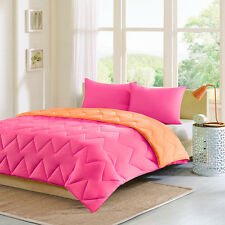 MODERN REVERSIBLE PINK ORANGE CHEVRON SPORTY STRIPE SOFT COMFORTER SET NEW!!