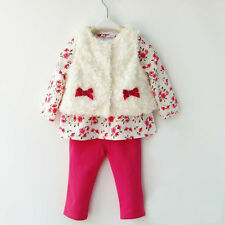 Children clothing set Baby girl suits waistcoat+shirts+pants baby cotton sets