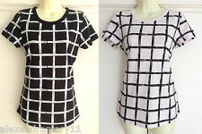 Fab Ex French Connection Black White Grid Print Top Size 10 (S) 12 (M) 14 (L)