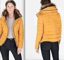 ZARA SHORT ANORAK WITH FUR COLLAR MUSTARD XS-XXL Ref. 8073/223