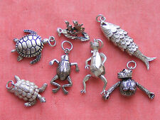 VINTAGE STERLING SILVER ARTICULATED ANIMAL  CHARMS FISH TURTLE FROG CAT & OWL
