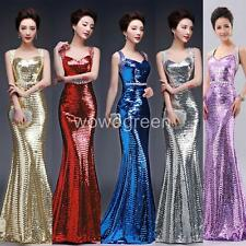 Sexy Bodycon Mermaid Sequined Prom Ball Gown Cocktail Wedding Party Dress W0123