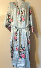 Light blue kimono dressing gown japanese chinese robe peacock size 8-24 uk