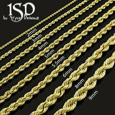 "10k Yellow Gold Mens Womens Hollow Rope Chain Necklace 2mm - 6mm 16"" - 32"""
