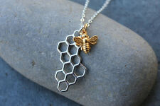 Honeybee & Honeycomb necklace- sterling silver & 24k gold plate bronze- bee mine