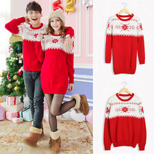 Womens Mens Lovers Knitted Jumper Sweaters Santa Christmas Xmas Sweater Dress