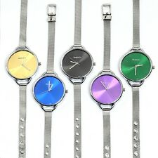 Mens Watch Womens Watches Stainless Steel Band Quartz Wristwatch Colorful