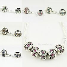 5x,10x,20x Vintage Silver Plated Flower Crystal Charm Bead fit European Bracelet
