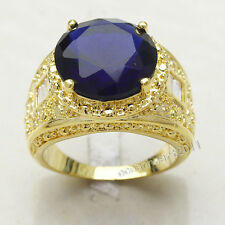 Size 9/10/11 EXCLUSIVE Man's  Blue Sapphire 18K Yellow Gold Filled Gem Ring