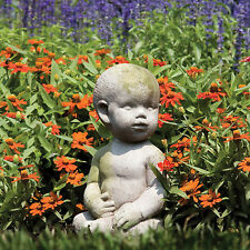 Cute Baby in Garden Statue Sculpture Made of Faux Concrete