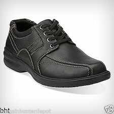 Clarks Mens Sherwin Limit Oxford Black Tumbled Leather Lace Up Casual 26103261
