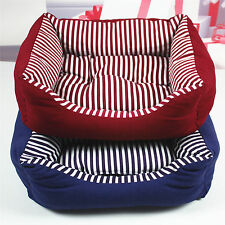 New Pet Bed Soft Warm Dog Cat Kennel Striped Canvas Chew Resistant High Quality