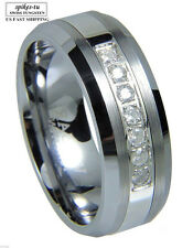 Luxury best Tungsten Ring 7 Cubic Zirconium Men Wedding Band Brushed size 6-13