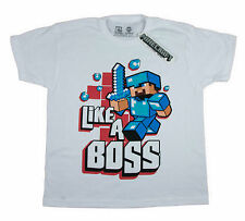 Official New Boy Minecraft short Long t shirt top tee age 7-14 white blue navy