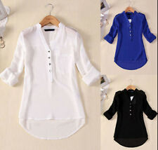 New Womens V-neck Long Sleeve Chiffon Tops Shirt Blouse AU Size 8-14