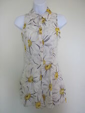 NEW EX CHAINSTORE GREY YELLOW FLORAL PRINT PLAYSUIT ONESIE ROMPER SUIT SIZE 8 10