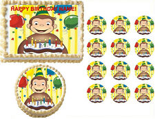 Curious George with Cake Party Edible Cake Topper Frosting Sheet - All Sizes!
