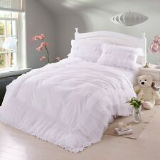 Korean White Lace Ruffles Bedding Sets Romantic Solid Color Cotton Bed In A Bag