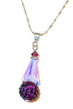CLEAR AB Crystal PURPLE VELVET Pendant & Chain Disco Ball Swarovski Elements