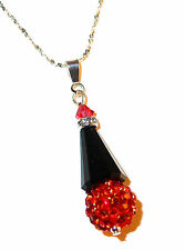 JET BLACK Crystal HYACINTH Orange Pendant & Chain Disco Ball Swarovski Elements