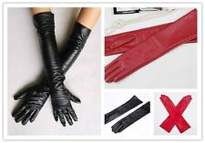 Women's Faux Leather Long Gloves Evening Party Fashion Warm Gloves