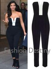 LADIES WOMEN CELEB KIM KARDASHIAN PLAYSUIT BLACK & WHITE STRAPLESS JUMPSUIT 8-14