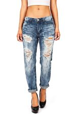 Machine Jeans New Women Ripped Distressed Ex Boyfriend Baggy Acid Wash Low Rise