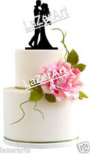 Wedding Cake Topper First Kiss Silhouette Groom and Bride